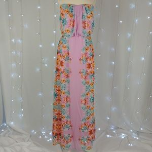 City Triangles Strapless Floral Maxi Dress